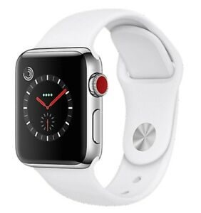 Apple-Watch-Series-3-42mm-Stainless-Steel-Case-White-Band-GPS-Cellular-Watch