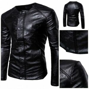Mens-Gothic-Motorcycle-Faux-Leather-Jacket-Slim-Fit-Collarless-Long-sleeve-New-L
