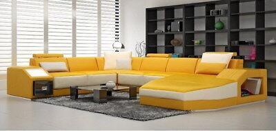 Divano In Pelle Copridivani Big Sofa Sofa Divano Cuscino Eck Abitativo Con Luce Nuovo-