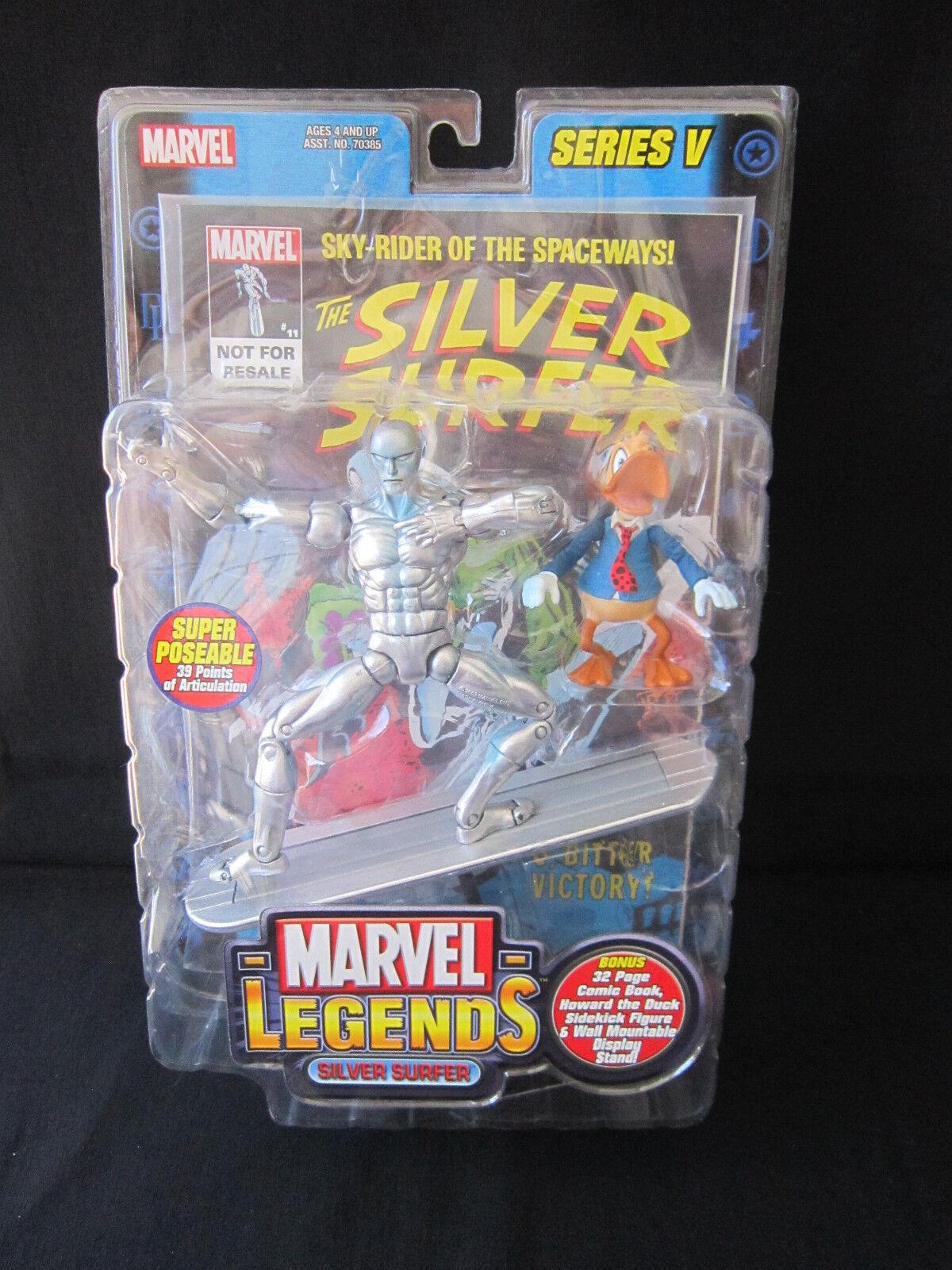 Marvel leggende SERIE V argento SURFER cifra giocattolo BIZ con Howard il Papero & FUMETTI