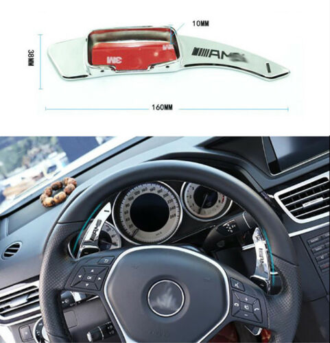 2PCS Paddle Shift Extension Metal Silver For Benz B//C//E//G//M//ML//GL Class GLK SLC