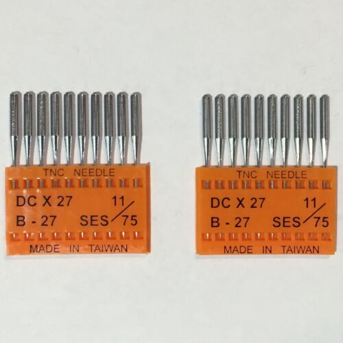 SINGER ETC DCX27 B27 11 // 75 INDUSTRIAL OVERLOCK SEWING NEEDLES  BROTHER JUKI