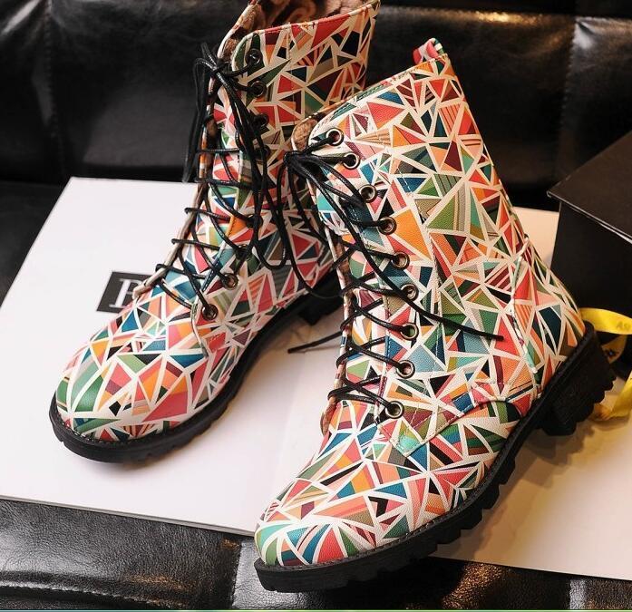 Bottes chaussures pour femmes rangers rouge Couleuré comme cuir confortable 8197