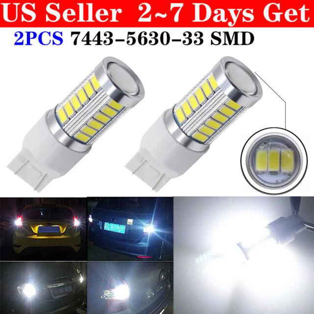 2X White 7443 7440 33SMD Tail Brake Stop High Power LED Bulbs 6000K 12V