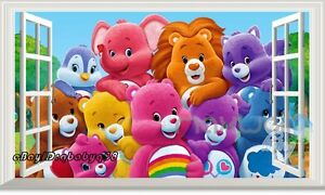 Care bear family 3d window wall decals art removable for Care bears wall mural