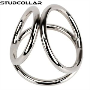 Cage In Two Sizes Fixing Prices According To Quality Of Products Studcollar-metal-triad Triple Metal Penis Rings
