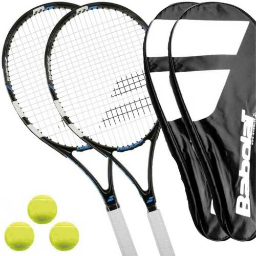 2 x Babolat EVOKE DEFIANCE L1//L2 Tennisschläger besaitet 3 Bälle Cover
