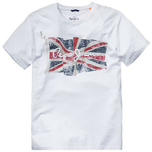 NUOVO-Pepe-Jeans-Maglietta-034-Flag-Logo-034-BIANCO-TAGLIA-S