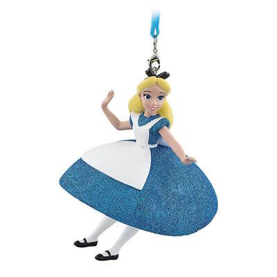 Disney Parks Alice in Wonderland Blue Glitter Dress Christmas Ornament