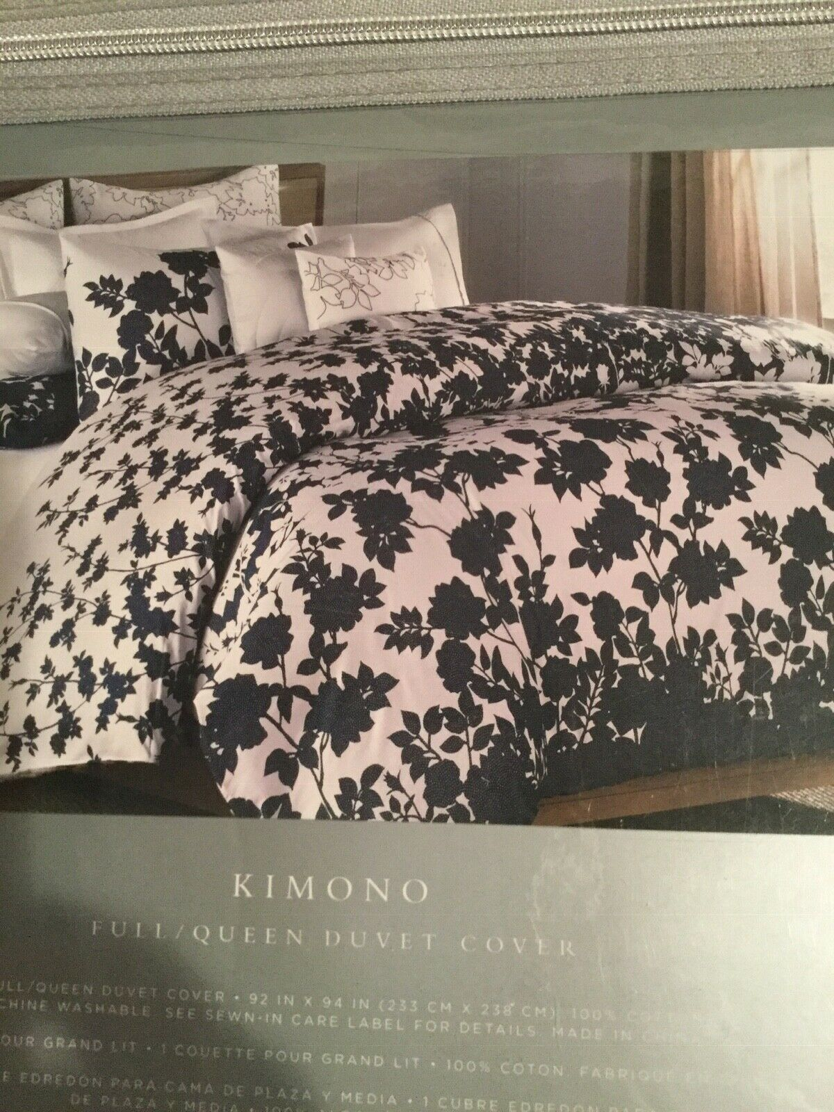 BARBARA BARRY KIMONO Indigo blueE FLORAL GARDEN Full QUEEN DUVET NEW