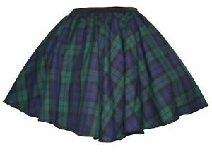 Ladies-Black-Watch-Tartan-Full-Circle-Skater-Skirt-With-Elasticated-Waistband
