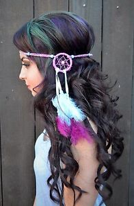 Image is loading Purple-Blue-Dreamcatcher-Feather-Headband -Hippie-Festival-Rave- 84d26028654
