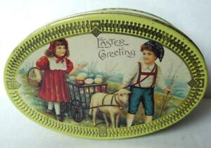 Easter-Greetings-Tin-Box-Egg-Shaped-vintage-imperfect