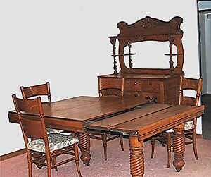 Image Is Loading ANTIQUE 19th CENTURY OAK DINING ROOM SUITE SET