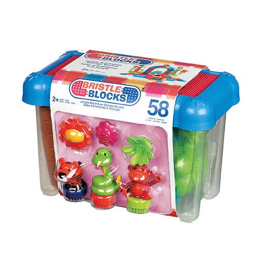 Bristle Blocks 58 Teile Jungle Set in Box Steckspielzeug Noppenbausteine