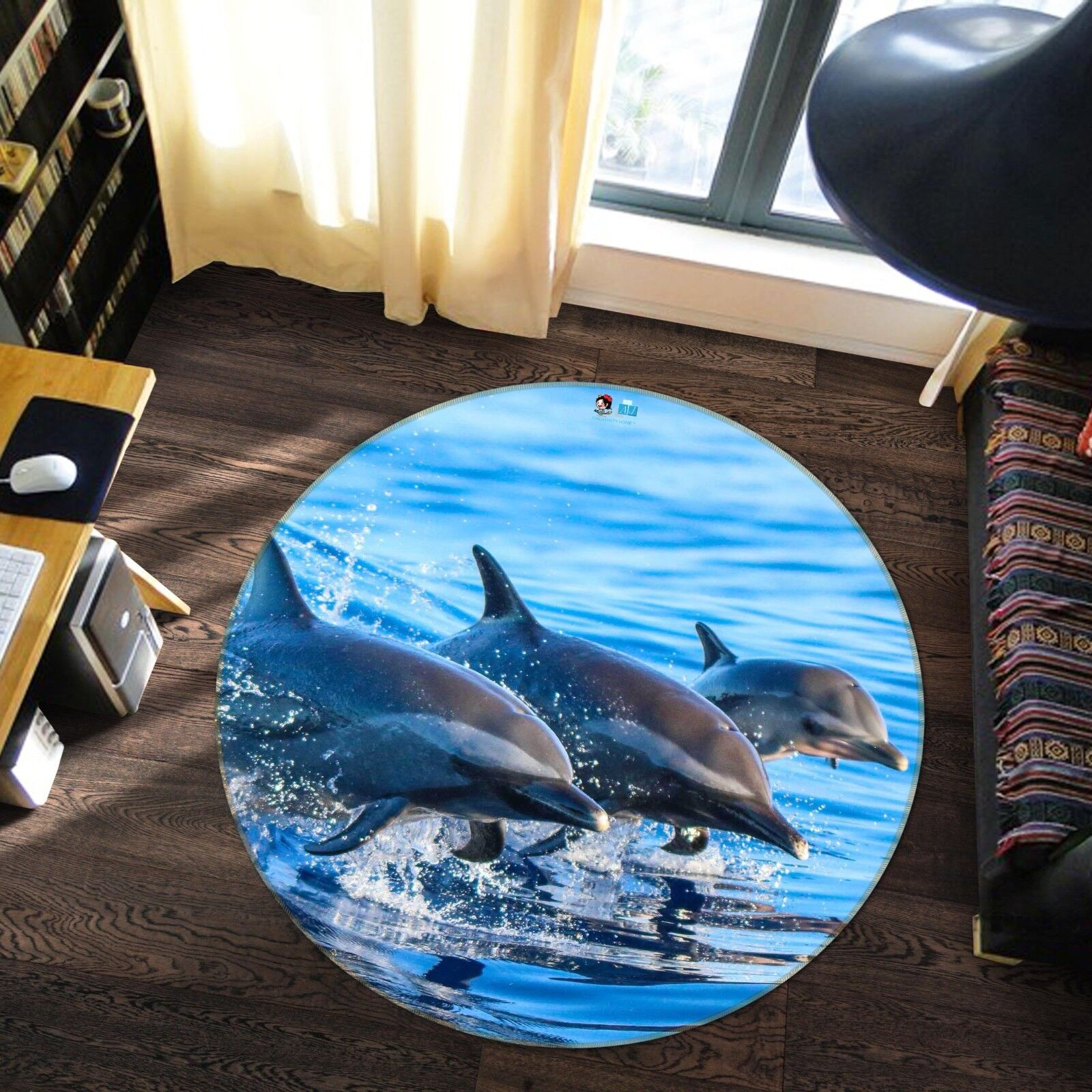 3D Dolphin 88 Non Slip Rug Mat Room Mat Round Quality Elegant Photo Carpet US