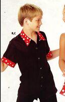 Snap Front Short Sleeve Dance Costume Shirt Large Child Boy's Black Polkadts