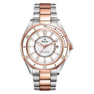 Bulova-Women-039-s-Precisionist-Quartz-Winter-Park-Two-Tone-36mm-Watch-98M113