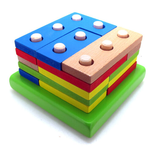 Montessori 9 pillars Topping-on Wood Game matching color shape wood block Toy
