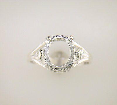 Oval Cabochon Swirl Shank Solitaire Ring Setting Sterling Silver
