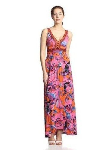 NWT Hale Bob Printed Coral Maxi Long Dress SZ XSmall XSmall XSmall MSRP  194 f0d173