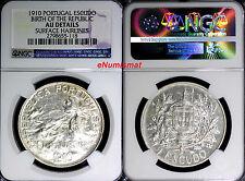 Portugal Silver 1910 1 Escudo NGC AU DETAILS Birth of the Republic  KM# 560