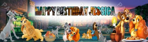 Personalize Lady and the Tramp Name Painting Banner 8.5x30 Custom Poster Gift