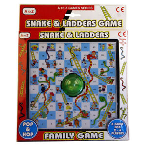 Pop-and-Hop-Traditional-Snakes-and-Ladders-Childrens-Kids-Family-Board-Game-Toy