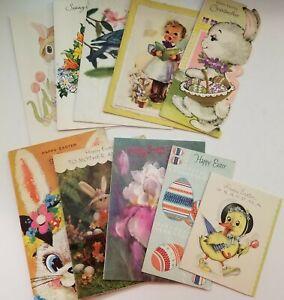 Vintage-Easter-Cards-Lot-of-10-Dressed-Duck-Choir-Boy-Pop-Up-Bunny