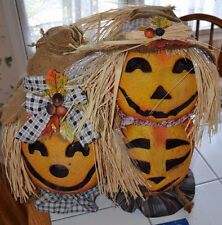 Fiber Optic Halloween Scarecrow Pumpkin Party Decoration EUC
