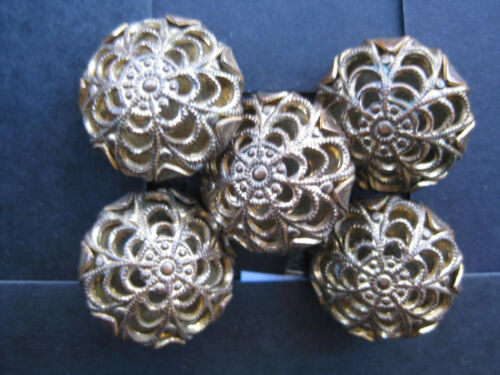 19mm Medium Lovely Antique Gold Filigree Domed Vintage Sewing Buttons Set 5