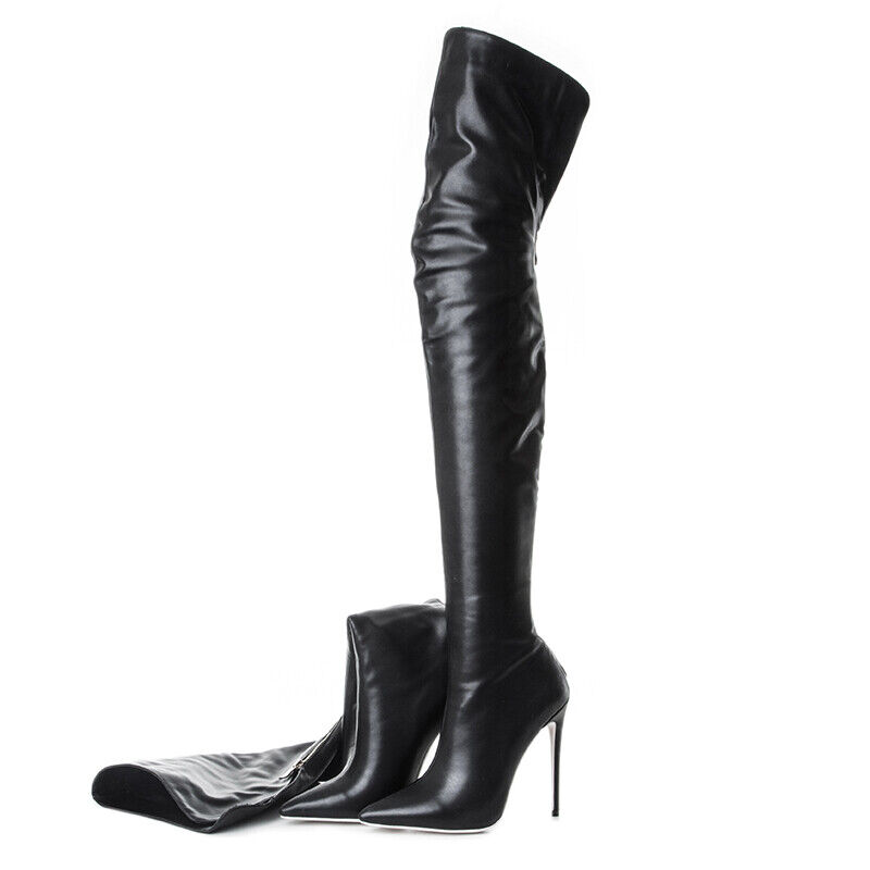 New Womens Over Knee High Boots Pumps Stilettos Pointy Toe Zip Leather High Heel