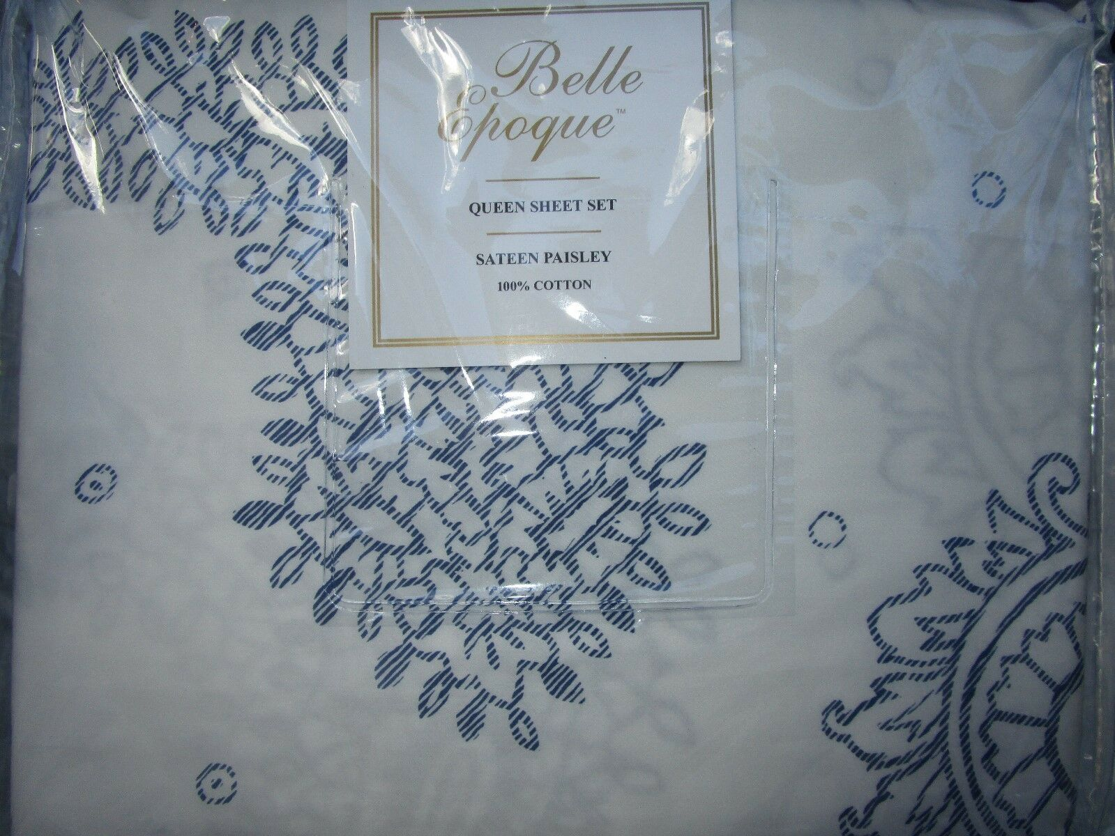 BELLE EPOQUE 100% Satin de coton paisley Queen Sheet Set Bleu Blanc Portugal NEUF