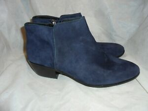 BLUE SUEDE LEATHER ZIP ANKLE BOOT SIZE