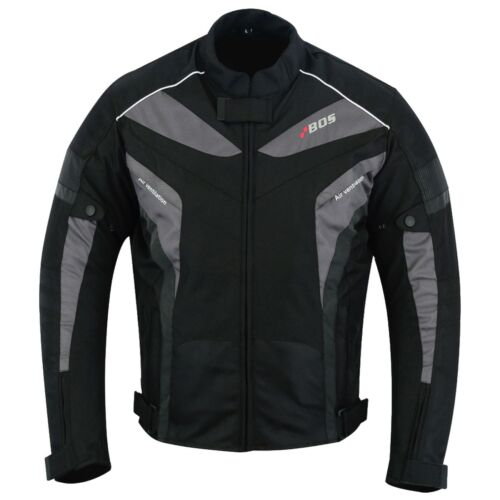 Hommes Moto Textile Veste Touring-Gris Noir BIKER Moto Sport NEUF