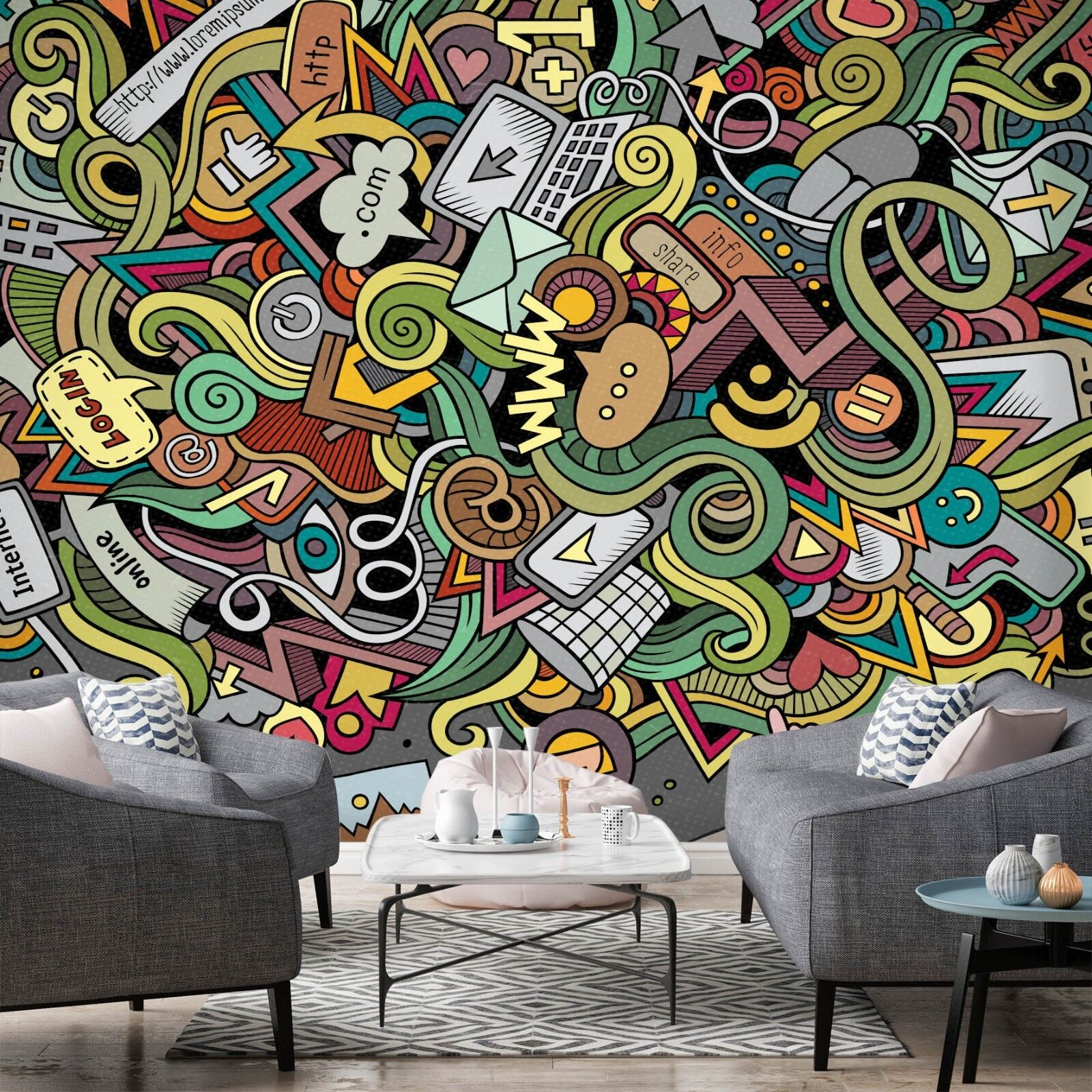 3D Fashion Pattern 785 Wallpaper Mural Paper Wall Print Murals UK Lemon