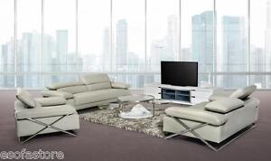 Divani Casa Powell Modern Light Grey Leather Sofa Set Free Shipping