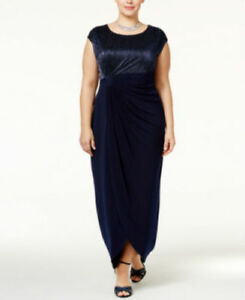 Connected Women/'s Plus Size Crinkled Metallic Faux-Wrap Gown