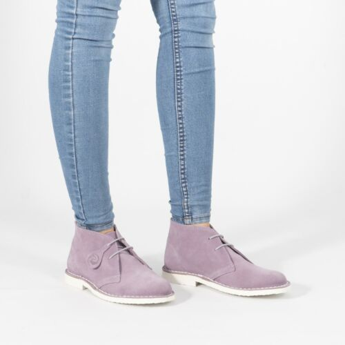 Popps PASTEL Ladies Lace Up Suede Leather Summer Casual Ankle Desert Boots