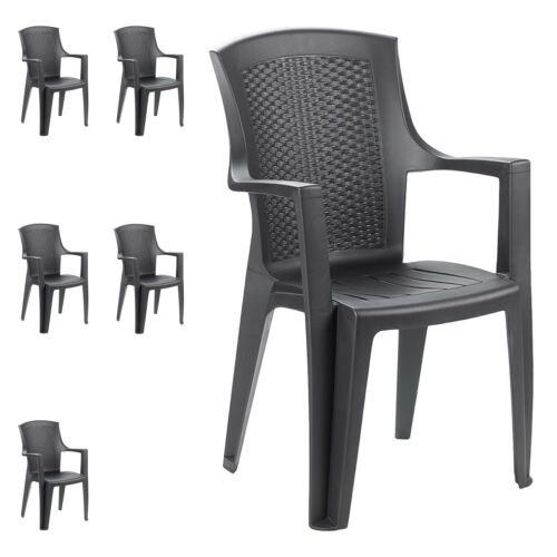 6 Pièce Lot Chaise bistro chaise Lot fauteuil plastique en rotin-Optik Anthracite