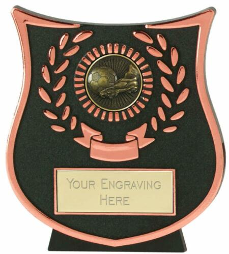 Emblems-Gifts Curve Bronze Boot /& Ball Football Trophy With Free Engraving
