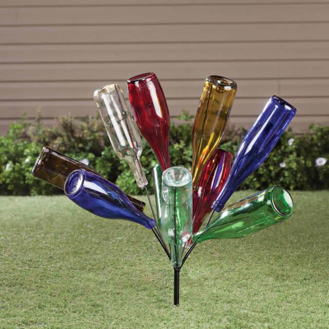 Outdoor Garden Stake Metal Wine Bottle Holder Tree Bush