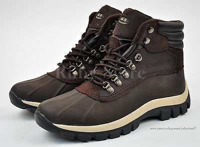 Kingshow Men's Winter Snow Work Boots Shoes Genuine Leather Waterproof 0705