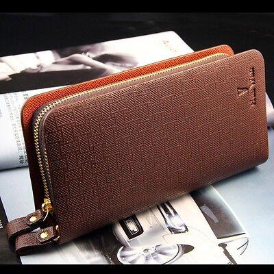 High capacity Double zipper Cell Phone Mens Leather Long Wallet handbag WT33