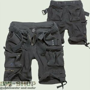 Brandit Shorts Savage Schwarz Neu Kurze Hose + GÜrtel Cargo Army Vintage Short