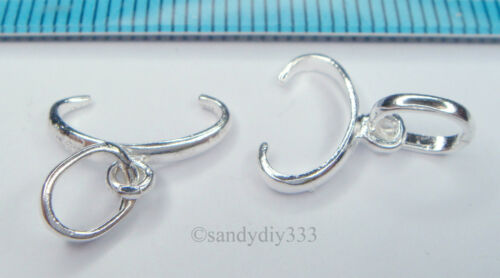 2x STERLING SILVER PENDANT PINCH IN CLASP with RING BAIL #1507