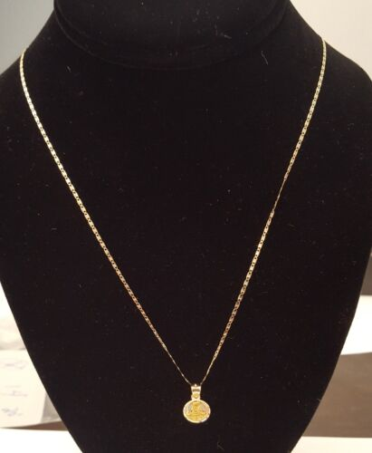 Real 14K Yellow White Rose Gold Jesus Face Pendant Charm 18 Inch Valentino Chain