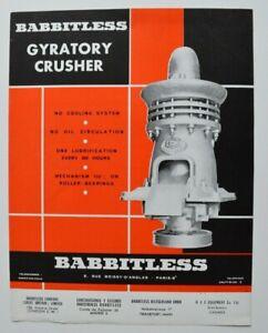 BABBITLESS-GYRATORY-Crusher-1960s-dealer-sheet-brochure-catalog-English