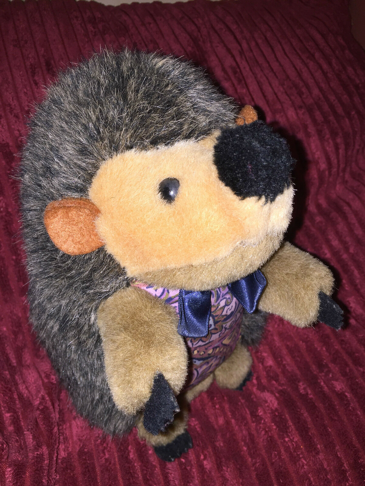 Vintage Soft Toy Hedgehog  with Bow Tie and pattern front 20 cm