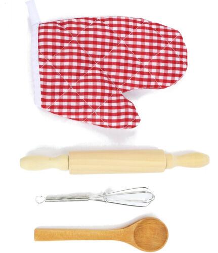 Chef Kochset für Kinder mit Schürze Handschuh Schneebesen Kochlöffel Nudelholz